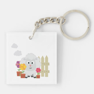 Gardening Sheep with flowers Z67e8 Double-Sided Square Acrylic Keychain