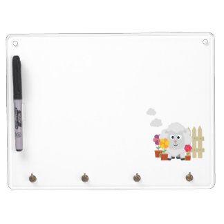 Gardening Sheep with flowers Z67e8 Dry Erase Board With Keychain Holder