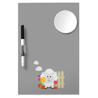 Gardening Sheep with flowers Z67e8 Dry Erase Board With Mirror