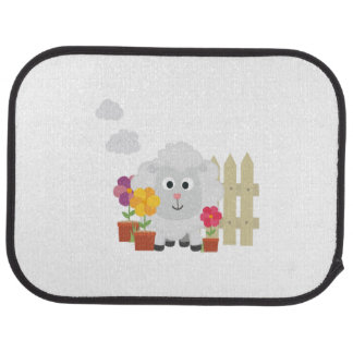 Gardening Sheep with flowers Z67e8 Floor Mat