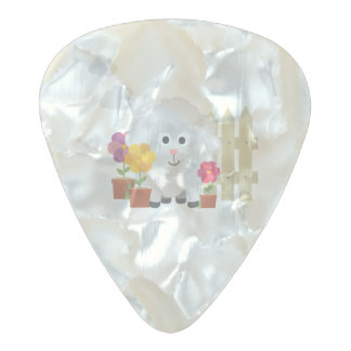 Gardening Sheep with flowers Z67e8 Pearl Celluloid Guitar Pick