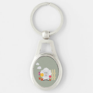 Gardening Sheep with flowers Z67e8 Silver-Colored Oval Keychain