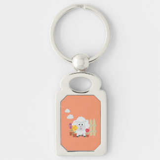 Gardening Sheep with flowers Z67e8 Silver-Colored Rectangle Keychain