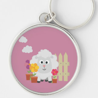 Gardening Sheep with flowers Z67e8 Silver-Colored Round Keychain