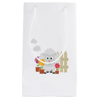 Gardening Sheep with flowers Z67e8 Small Gift Bag
