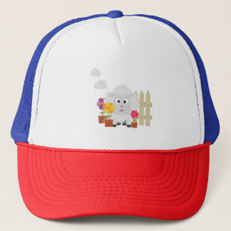 Gardening Sheep with flowers Z67e8 Trucker Hat