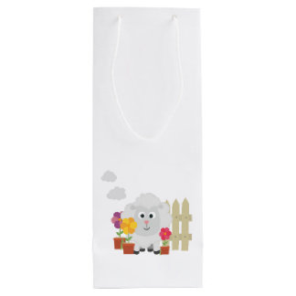Gardening Sheep with flowers Z67e8 Wine Gift Bag