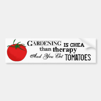Gardening = Therapy + Tomatoes Bumper Sticker