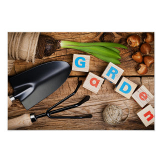 Gardening Tools with Flower and Bulbs on Wood Poster