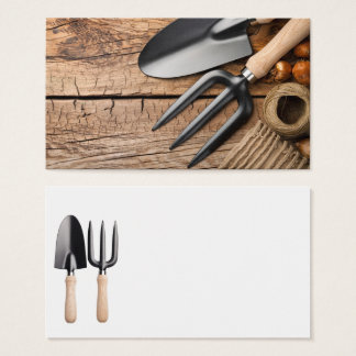 Gardening Tools With Twine And Bulbs On Table Business Card