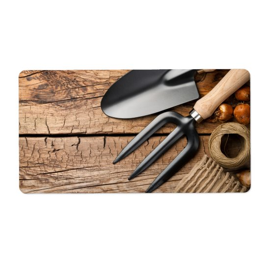 Gardening Tools With Twine And Bulbs On Table Shipping Label