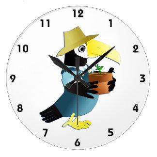 Gardening Toucan Bird Large Clock