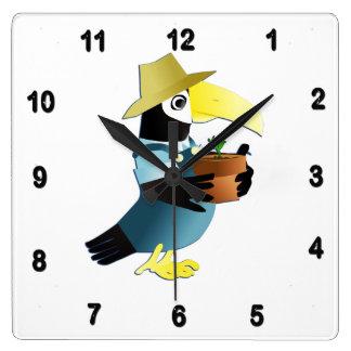 Gardening Toucan Bird Square Wall Clock