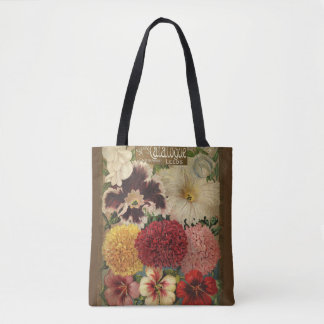 gardening, vintage flower seed packet, colourful tote bag