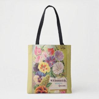 gardening, vintage seed packet, flowers, colourful tote bag