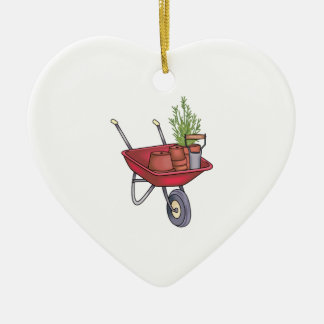GARDENING WHEELBARROW CERAMIC ORNAMENT