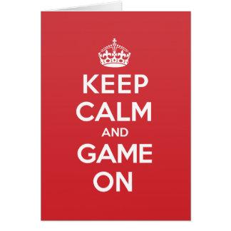 Gardez la carte de note calme de salutation de jeu