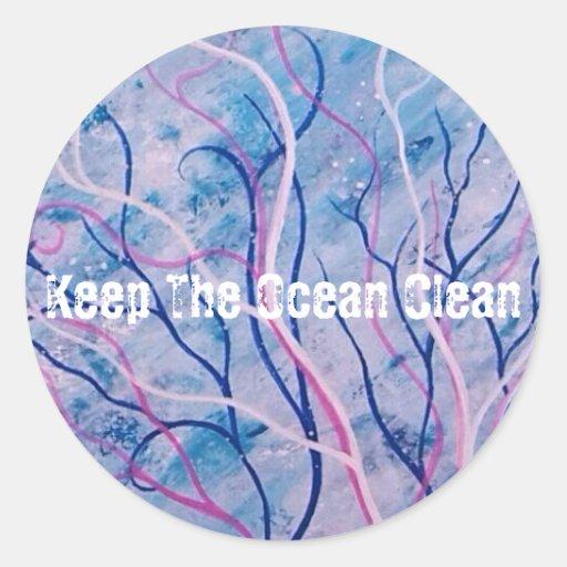 Gardez l'autocollant rond propre d'océan