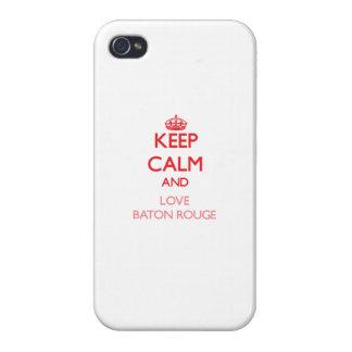 Gardez le calme et aimez Baton Rouge Coques iPhone 4