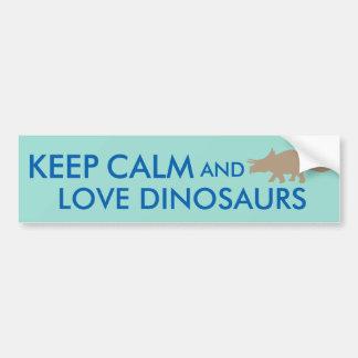 Gardez le calme et aimez la coutume de Triceratops Autocollant De Voiture