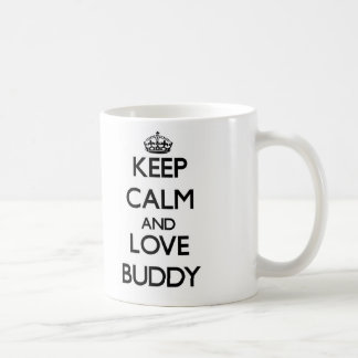 Gardez le calme et aimez l'ami mug blanc