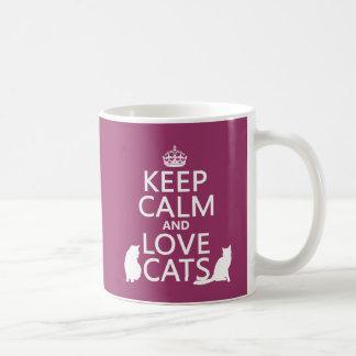 Gardez le calme et aimez les chats mug blanc