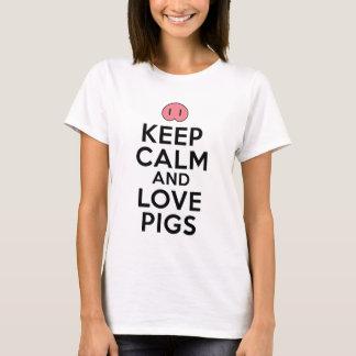 Gardez le calme et aimez les porcs t-shirt