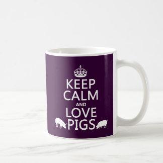 Gardez le calme et aimez les porcs (toutes les mug blanc