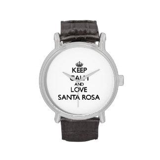 Gardez le calme et aimez Santa Rosa Montres Bracelet
