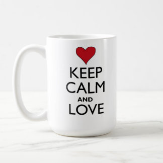 Gardez le calme et aimez mug blanc