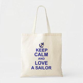 Gardez le calme et aimez un marin sac en toile budget