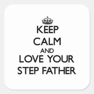 Gardez le calme et aimez votre beau-père sticker carré
