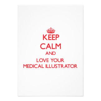 Gardez le calme et aimez votre illustrateur médica carton d'invitation