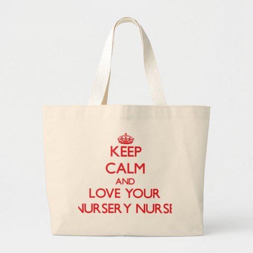 Gardez le calme et aimez votre infirmière de crèch sacs fourre-tout