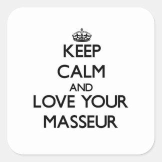 Gardez le calme et aimez votre masseur autocollant carré