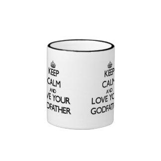 Gardez le calme et aimez votre parrain mug ringer
