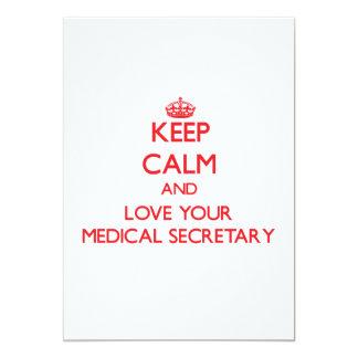 Gardez le calme et aimez votre secrétaire médical invitation personnalisable