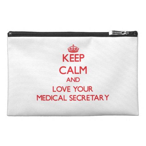 Gardez le calme et aimez votre secrétaire médical trousses à accessoires de voyage