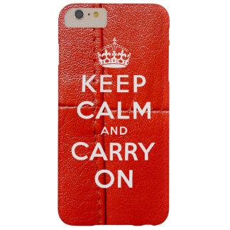 Gardez le calme et continuez le cuir rouge imprimé coque iPhone 6 plus barely there
