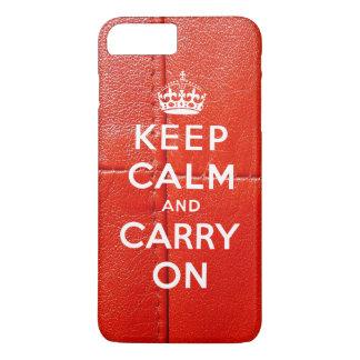 Gardez le calme et continuez le cuir rouge imprimé coque iPhone 7 plus