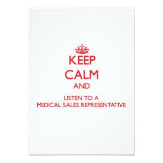 Gardez le calme et écoutez des ventes médicales carton d'invitation