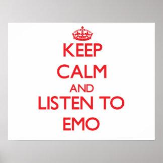 Gardez le calme et écoutez EMO Poster