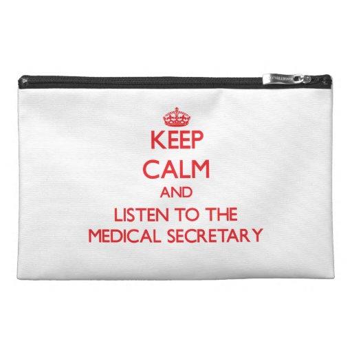 Gardez le calme et écoutez le secrétaire médical trousses à accessoires de voyage