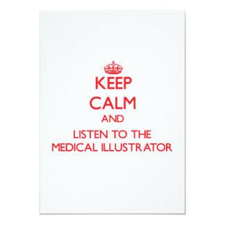 Gardez le calme et écoutez l'illustrateur médical carton d'invitation
