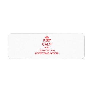 Gardez le calme et écoutez un dirigeant de la publ étiquettes d'adresse retour