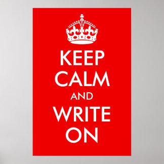 Gardez le calme et écrivez sur la copie affiches