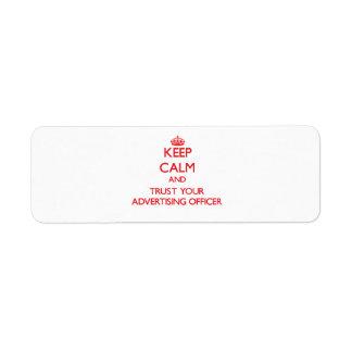Gardez le calme et faites confiance à votre étiquette d'adresse retour