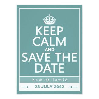 Gardez le calme et faites gagner la date carton d'invitation  13,97 cm x 19,05 cm