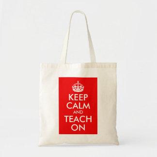 Gardez le calme et l enseignez dessus sacs en toile