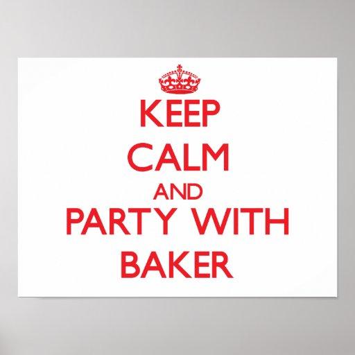Gardez le calme et la partie avec Baker Posters